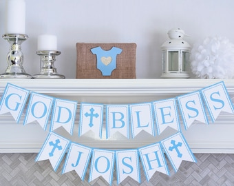 Personalized Baptism Banner, Christening Banner, First Communion Banner, Confirmation Banner, P006