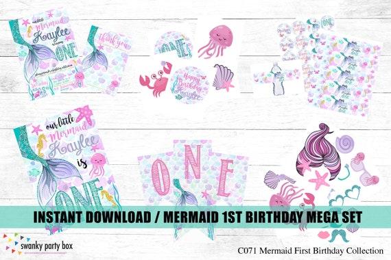 Digital Mermaid Birthday Printable Kit Little First