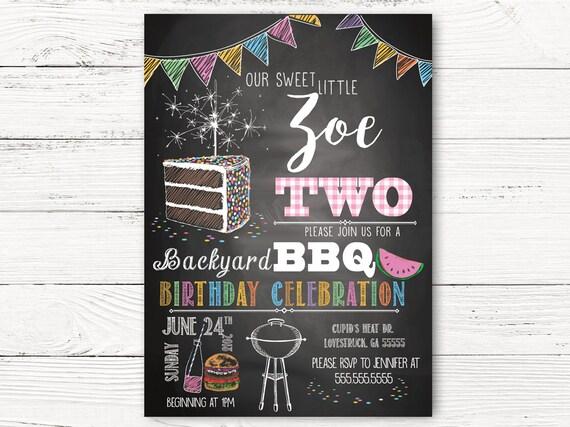 BBQ 2nd Birthday Invitation Girl Invitations