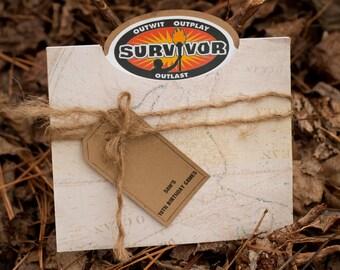 Survivor Party, Survivor Birthday Party Invitation, Set of 10 or more, C005