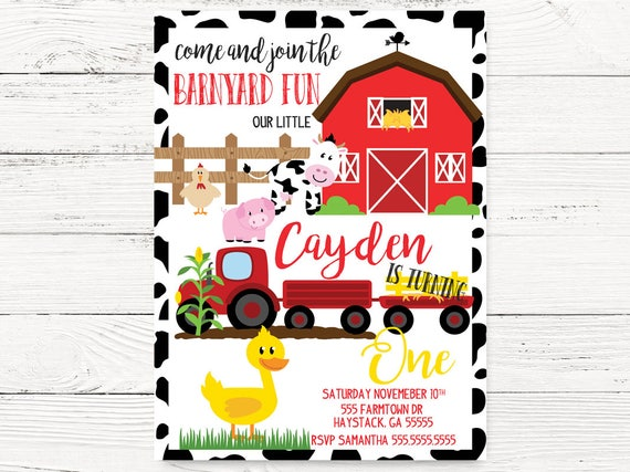 Barnyard Birthday Invitation Farm Theme Party Invite Etsy