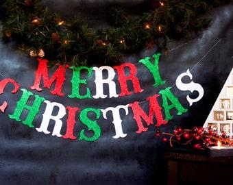 Merry Christmas Banner, Merry Christmas Glitter Banner, Christmas Garland, Christmas Banner, Holiday Banner, Christmas Garland, G004