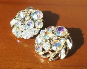 Iridescent Kramer Rhinestone Clip Earrings