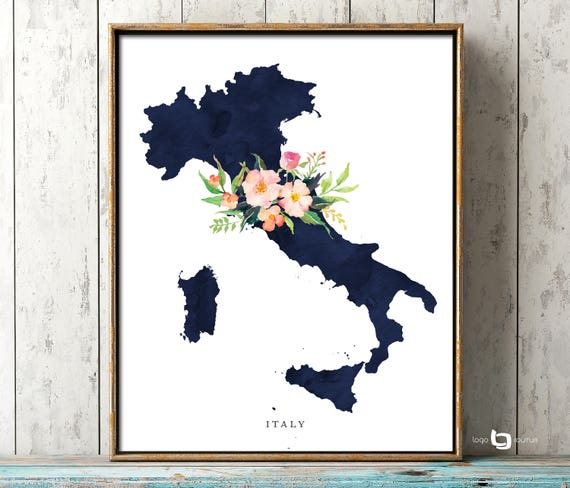 Italy Map Wall Art.Italy Map Wall Art Italy Map Print Italy Watercolor Print Etsy