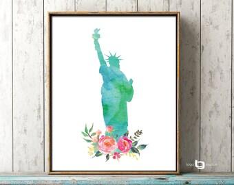 Statue of Liberty Print, New York Lady LIberty Wall Art, New York Print, Watercolor Art, Poster, Watercolor Art, Art Decor, Print Poster