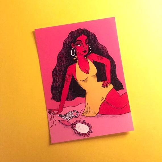 Aphrodite Mini Print Illustration Women Of Greek Mythology Goddess Love Beauty Pink Art History Myth Gods