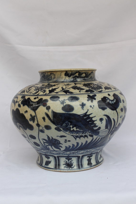 Early Ming Dynasty Vase Chinese Antiques Blue And White Etsy