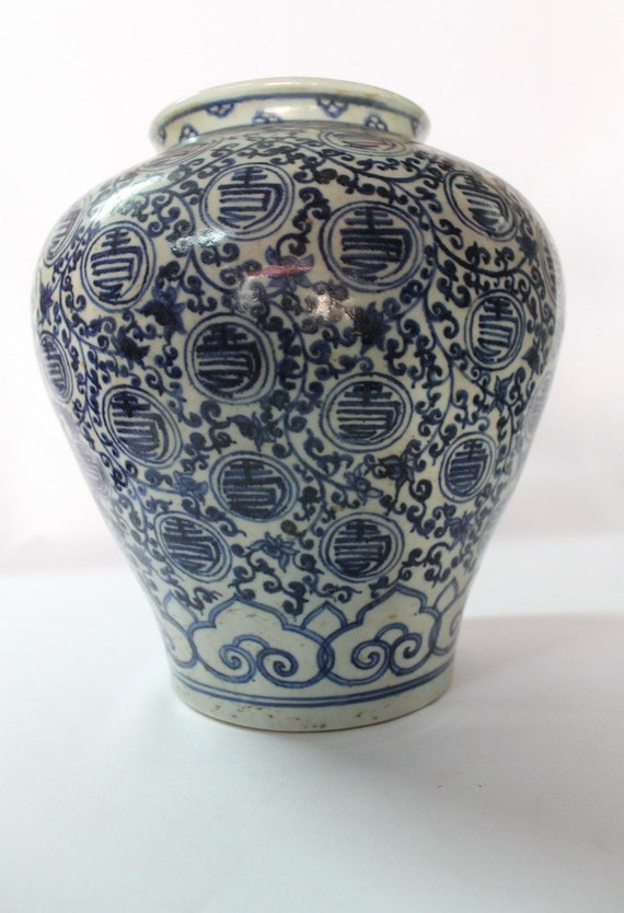 Antique Chinese Blue And White Porcelain Vase Ming Qing Etsy