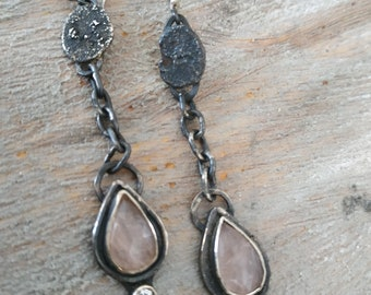 Recycled silver earrings Morganite earrings Long silver earrings