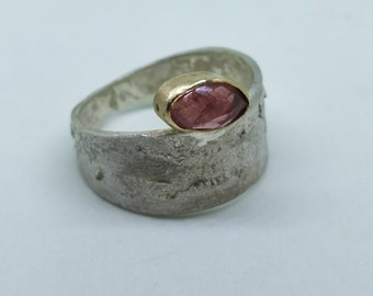 Silver and gold ring with pink sapphire Mixed metal ring