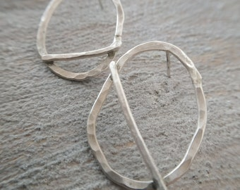 Hammered hoops Silver hoop earrings