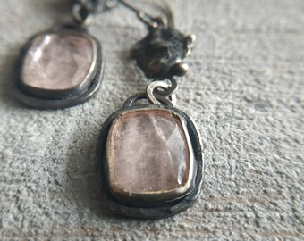 Recycled silver and morganite earrings Dangle morganite earrings Rustic earrings