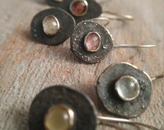 Recycled silver earrings Aquamarine earrings Rustic silver earrings