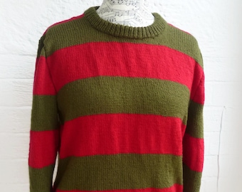 b97f7e3af00 Freddy Krueger Movie Versions Part I to VII Sweater - Sweater Jumper Hand  Knit Halloween Fancy Dress Cosplay Pullover - ClickClackKnits