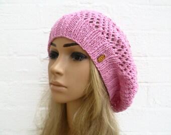 4b531d92566 Pink Cotton Hairnet Snood Hat