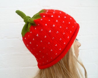 ee9f8cb2d32 Hand Knitted Strawberry Fruit Hat.Hand Knit Hat