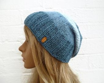 9aa35c77cf8 Blue Cotton Slouchy Beanie Hat