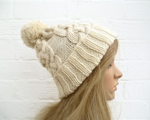 e78243aedcb Sale Cream Pom Pom Hat Women Hand Knit Pom Pom Hat Winter