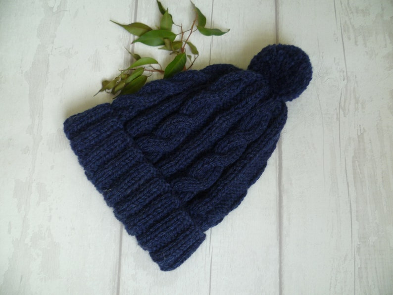 0490e5e5edf Men Navy Blue Wool Cable Pom Pom Hat Men Hand Knit Wool