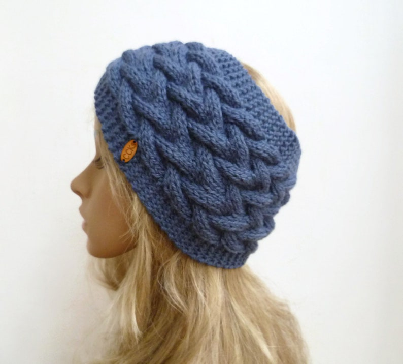 54ef93f763c Denim Blue Wool Alpaca Cable Headband Women Hand Knit