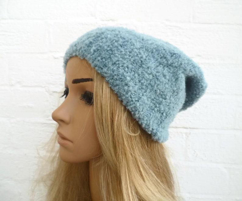 Sale Blue Alpaca Slouchy Beanie Hand Knitted Hat Women  550fd5dba2a6
