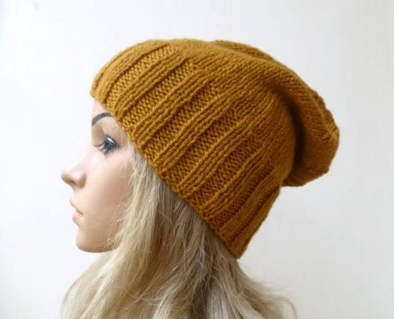 Sale Gold Wool Alpaca Slouchy Beanie Hat Women Hand Knit  e9ee13ed2302