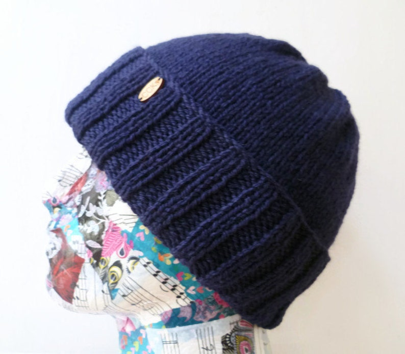 23c2ecffd47 Men Navy Blue Wool Alpaca Watchman Cap Hand Knit Beanie Men