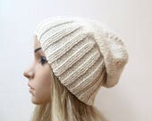 Cream Wool Slouchy Beanie, Women Alpaca Slouch Beanie, Hand Knit Hat, Cream Wool Alpaca Slouch Beanie, Spring Eco Wool Hat, ClickClackKnits