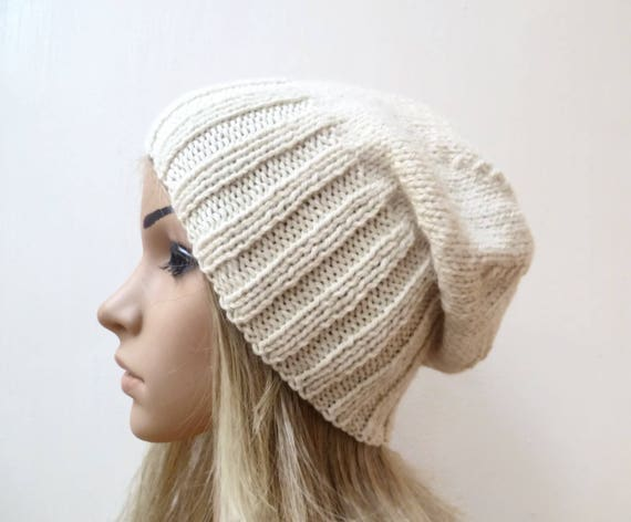 Sale Cream Wool Alpaca Slouchy Beanie Women Hand Knit Hat  d4b81724a40