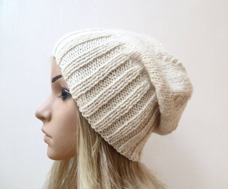 478a6590aed Cream Wool Alpaca Slouchy Beanie Women Hand Knit Hat Winter