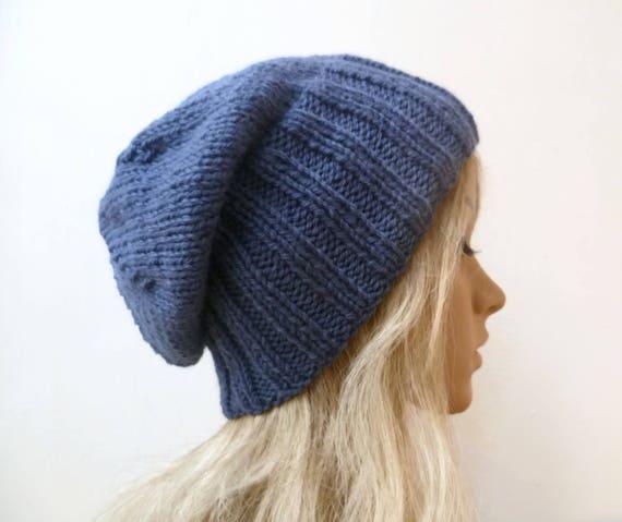 Sale Denim Blue Wool Alpaca Slouchy Beanie Women Hand Knit  27653907920