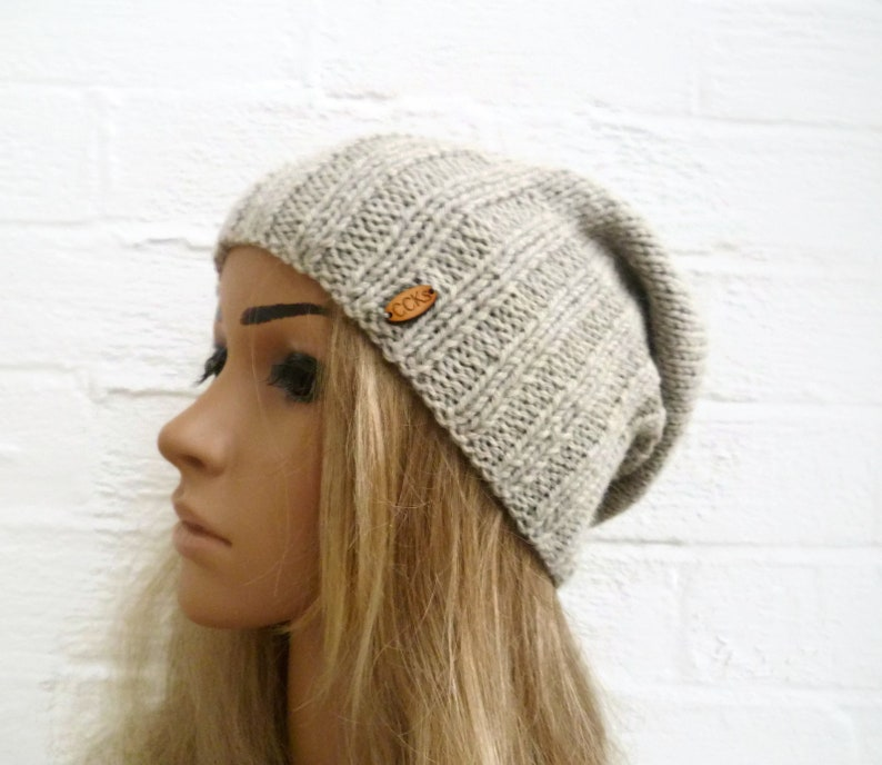 Sale Grey Wool Alpaca Slouchy Beanie Women Hand Knit Hat  f25f55e5f3a