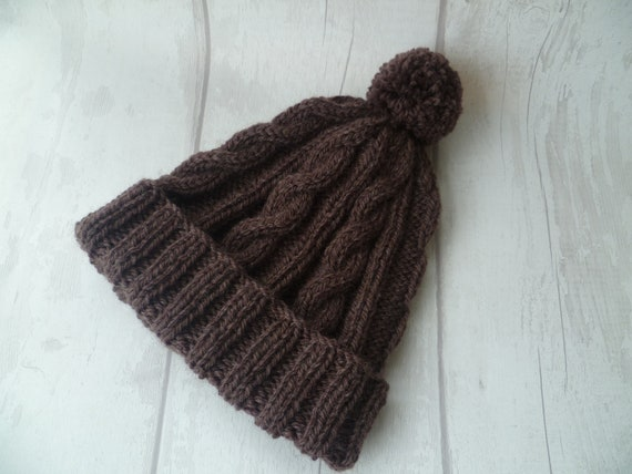 b155fd74c46 Men s Brown Wool Cable Pom Pom Hat Hand Knit Bobble Hat