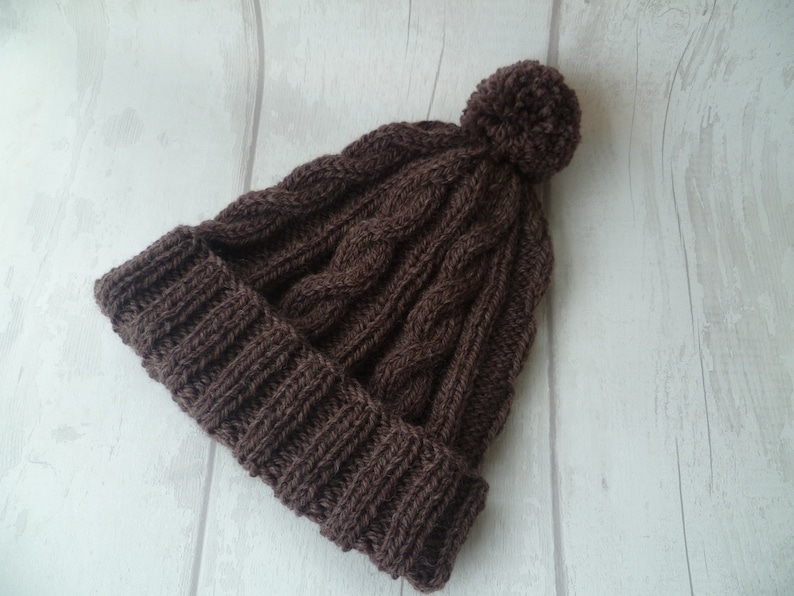 930d9caf2a3 Men s Brown Wool Cable Pom Pom Hat Hand Knit Bobble Hat