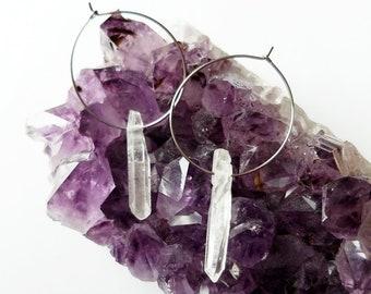 Hoop Earrings | Raw Crystal Earrings | Healing crystals | Raw Stone Earrings | Raw Quartz Earrings