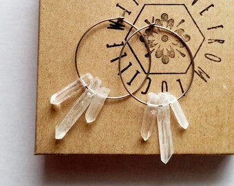Raw Crystal Earrings | Raw Stone Earrings | Raw Quartz Hoop Earrings | Healing crystals | Clear Quartz Hoops