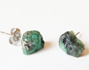 Raw Emerald Earrings |  Raw Crystal Earrings | Healing Crystals | boho jewelry | Gifts for her