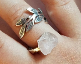 Raw Rose Quartz Ring | Raw Crystal Ring | Sterling Silver Ring | Statement Ring | Boho Jewelry | oversized ring