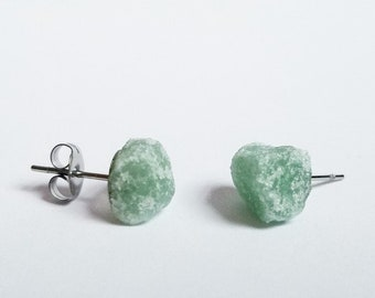 Raw Green Aventurine Earrings | Raw Crystal Earrings | Green Earrings | Raw Stone Earrings |Healing Stones | Healing Crystals |gifts for her