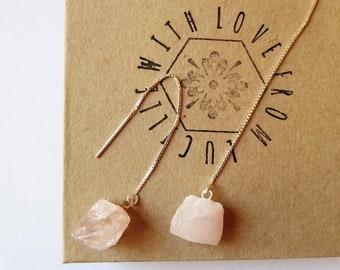Raw Crystal Earrings | Raw Rose Quartz Threader Earrings | Sterling silver threaders | Raw Stone Earrings | Healing Crystals