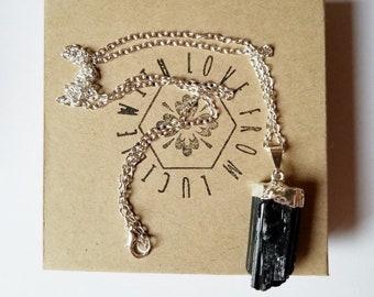 Raw Crystal Neckalce | Raw Black Tourmaline Necklace | Statement Jewelry | Raw Stone Jewelry | Healing Crystals