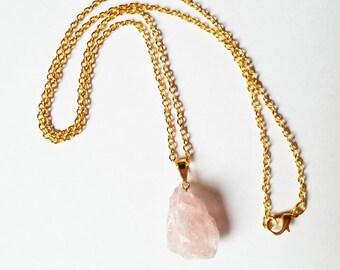 Raw Crystal Neckalce | Raw Rose Quartz Necklace | Statement Jewelry | Raw Stone Jewelry | Healing Crystals