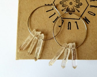 Raw Crystal Earrings | Raw Quartz Hoop Earrings | Healing crystals | Raw Quartz Earrings | Raw Stone Earrings