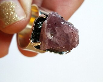 Raw Ruby Ring | Raw Crystal Ring | Gemstone Ring | Statement Ring | Boho Jewelry | oversized ring