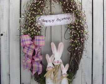 Easter Wreath - Easter Door Decor - Bunny Wreath - Rustic  Wreath - Easter Berry Wreath - Spring Wreath - Welcome Door wreath