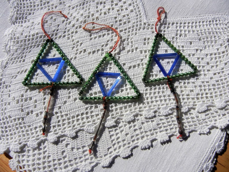 Mercury Glass Vintage Beaded Triangle Christmas Ornaments image 0