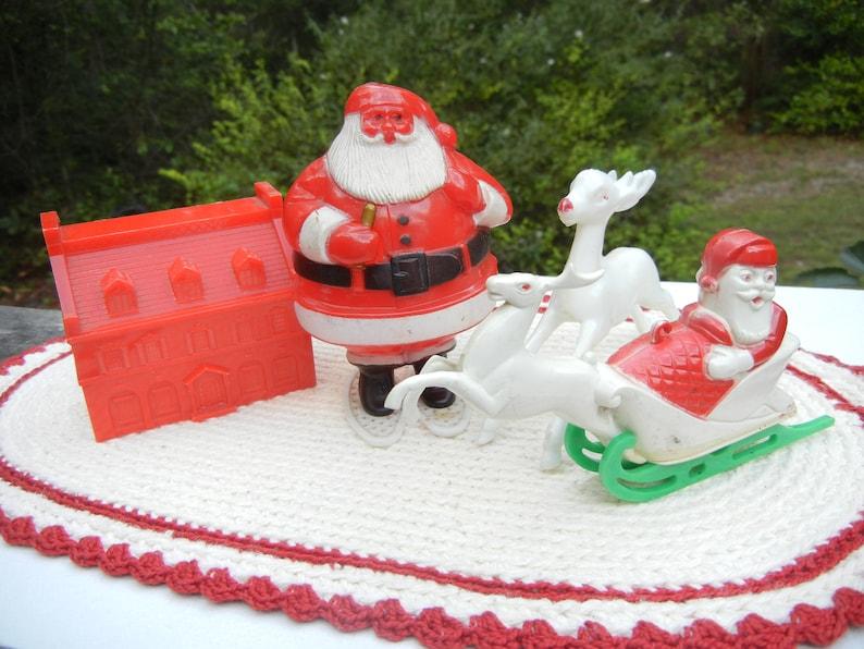 Vintage Rosbro Santa on Snowshoes Vintage Santa and Sleigh image 0