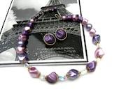 Vintage Beaded Necklace and Coro Earrings: Lavender, Purple, Aurora Borealis