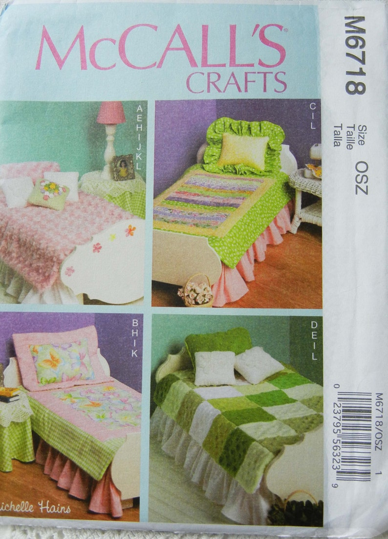 Sewing Pattern for 14-18 Inch Dolls Quilts Bedding Bedroom image 0
