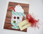 """Sale Price: Coffee Themed Card (or Hot Chocolate - Hot Cocoa Card) Handmade 3D Card with Personalized Options and Tag That Reads """"Smile"""""""